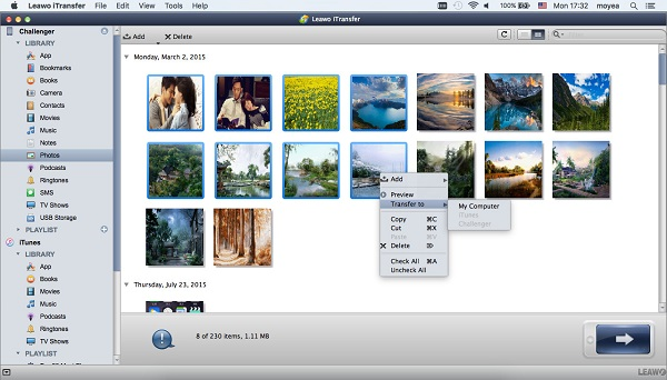 Select photos to transfer