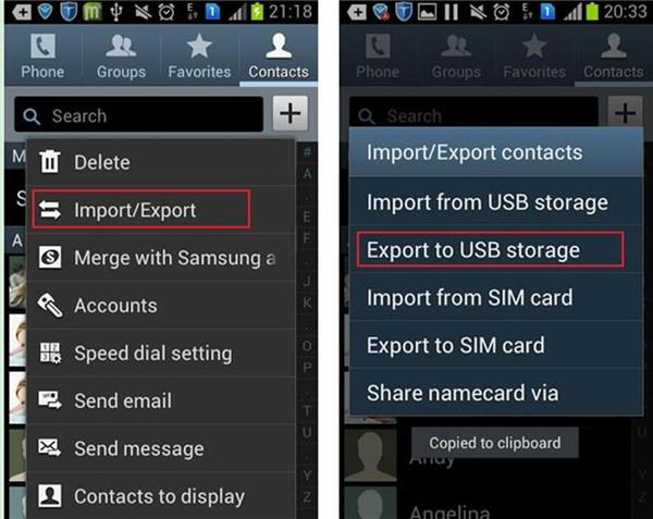 Export to USB Storage