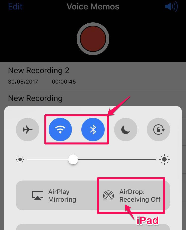 Activate WIFI and Bluetooth icons