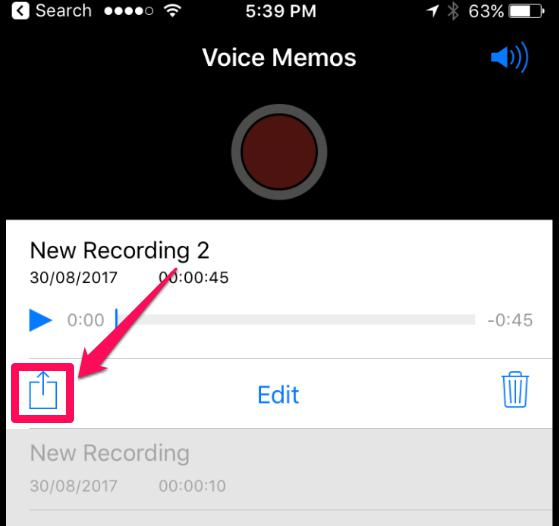 Share your recordings by clicking the share button