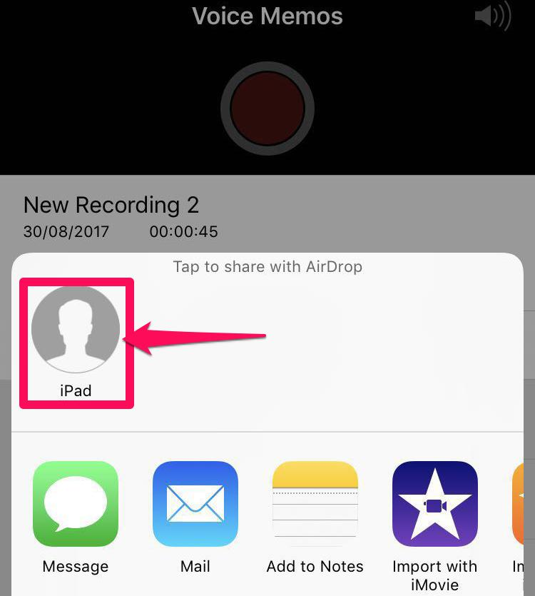 Click on the correct receiver and send the recording