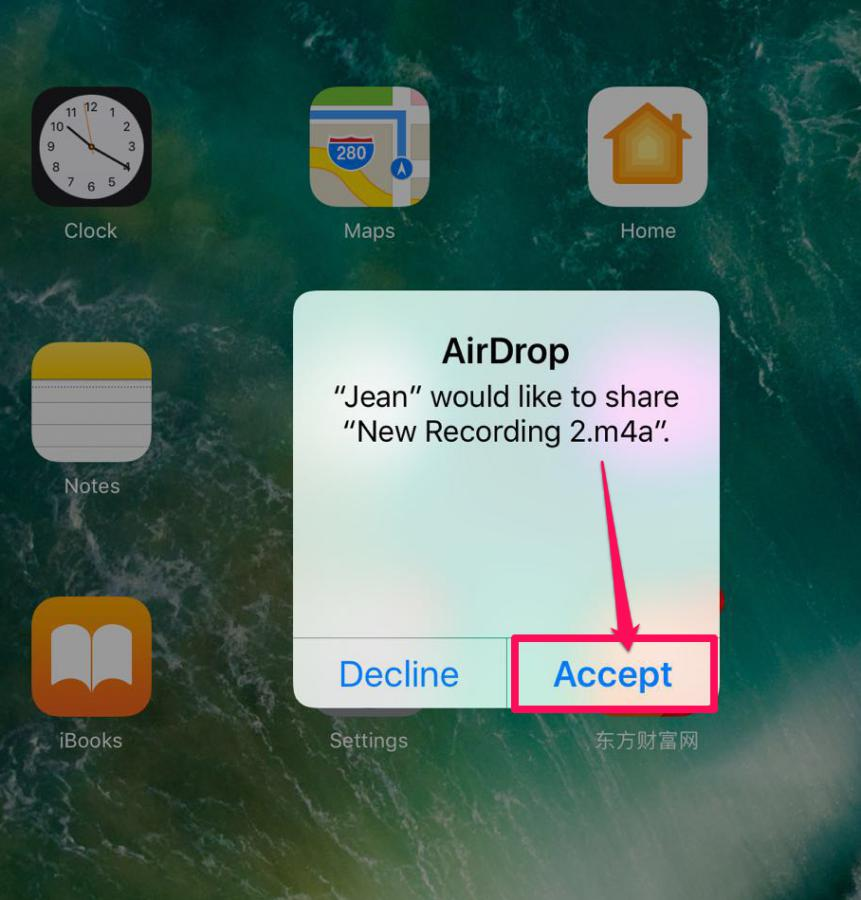 Accept the file on iPad from your iPhone