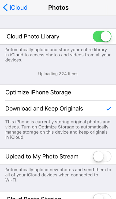 turn on iCloud Photo Library