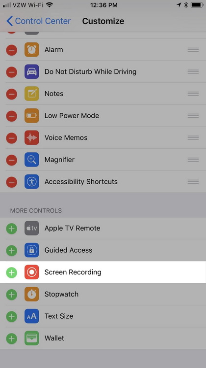 Screen recording iOS 11