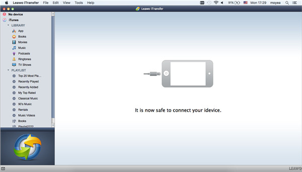 Run Leawo iTransfer and Connect iPhone to Mac
