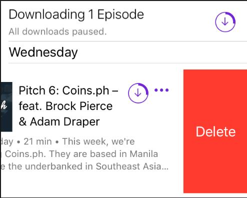 Find the podcasts you want to delete and swipe to the left