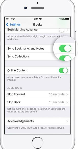 Sync iBooks from iPad to iPhone via Settings