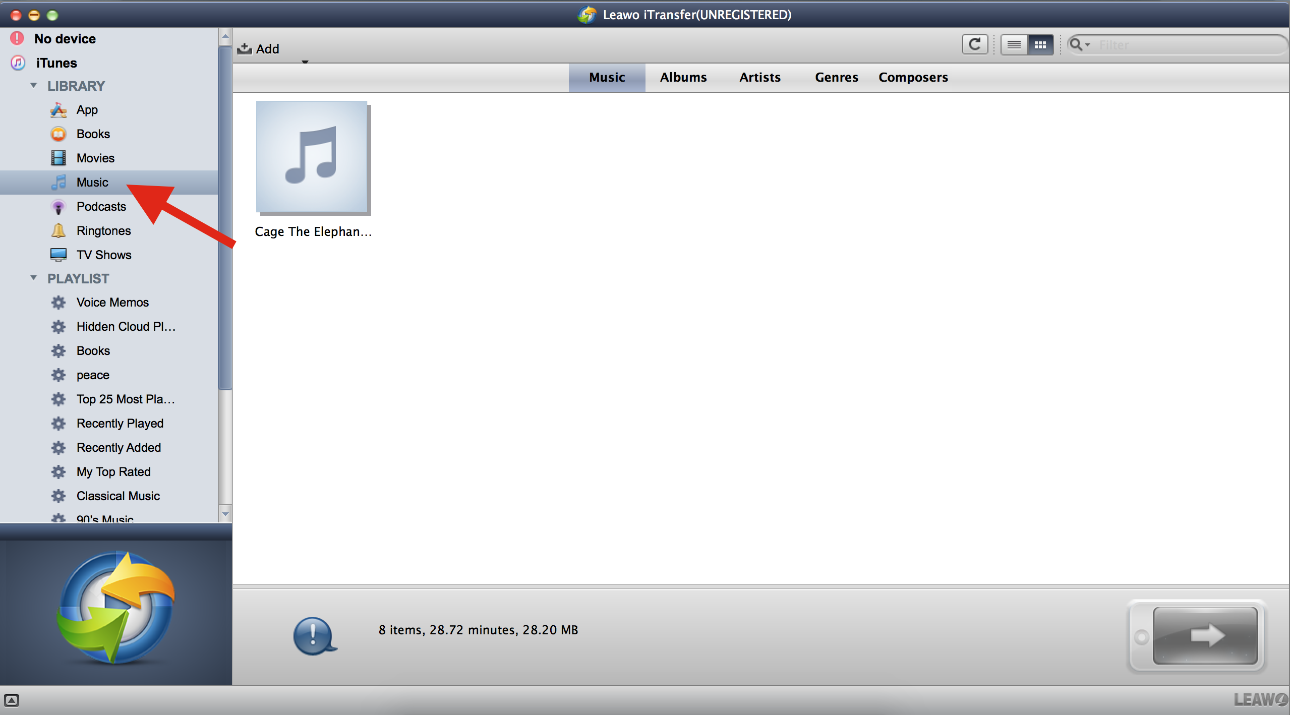 Transfer music from USB to iTunes