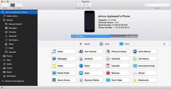 Launch iExplorer and then insert iPhone to Mac