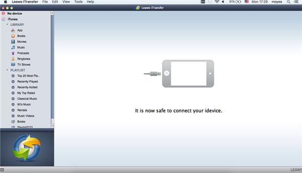 Run Leawo iTransfer and Connect iPod to Mac