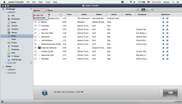 Open Music Tab and Add MP3 Files
