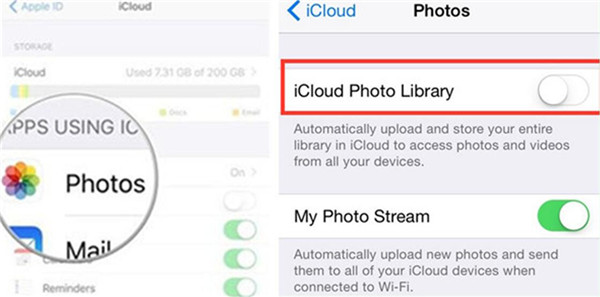 enable the iCloud Photo Library