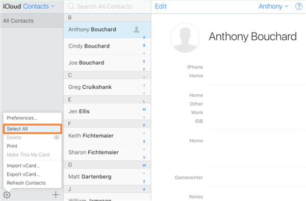 click on the panel of Contacts