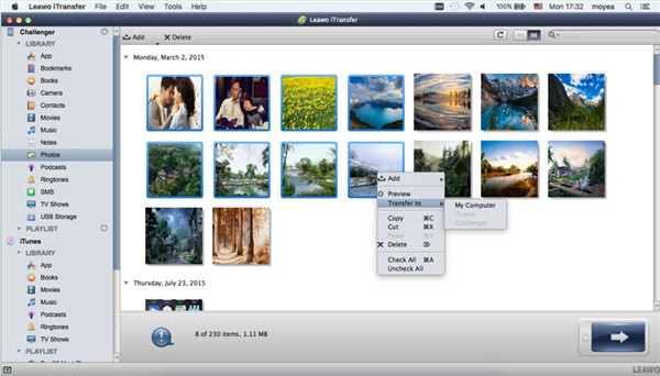 Select Files to Transfer from iPhone to Mac