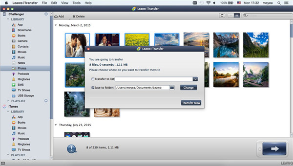 Select Output Folder and Transfer from iPhone to Mac