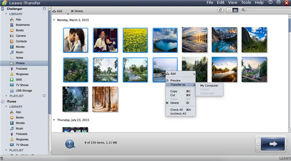 Select Photos and Transfer