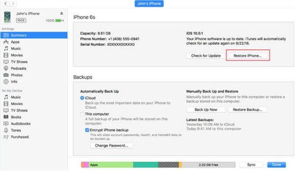 Fix iPhone is Disabled Connect to iTunes with iTunes