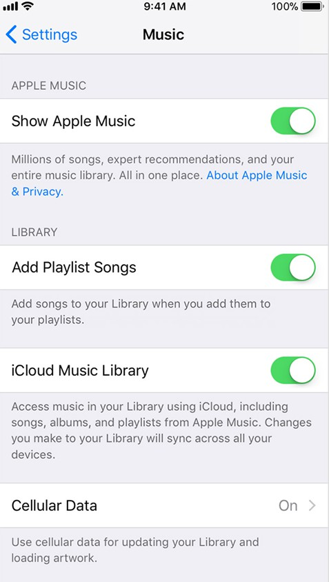 enable the iCloud Music Library