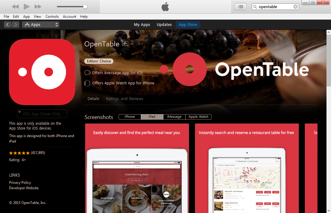 App Store OpenTable