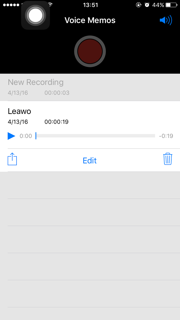 Click on one of voice memos