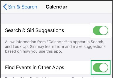 Turn off Find Events in Other Apps