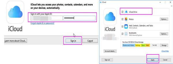 log into iCloud for Windows