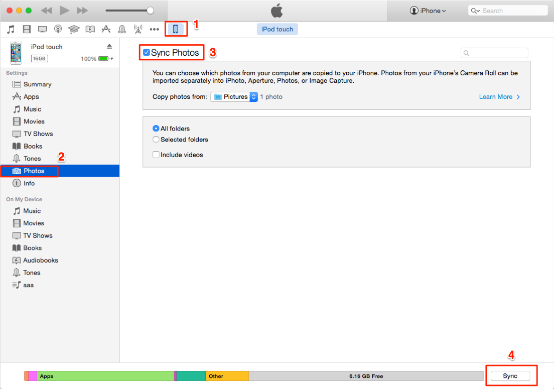 Transfer Photos from Mac to iPod via iTunes