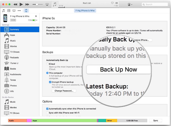 Backup iMessages from iPhone to PC via iTunes