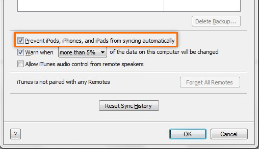 Prevent iPods ,iPhones and iPads from syncing automatically