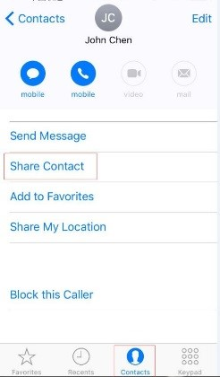 choose Share Contact