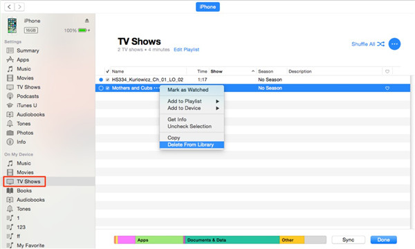 Delete TV Shows from iPhone via iTunes