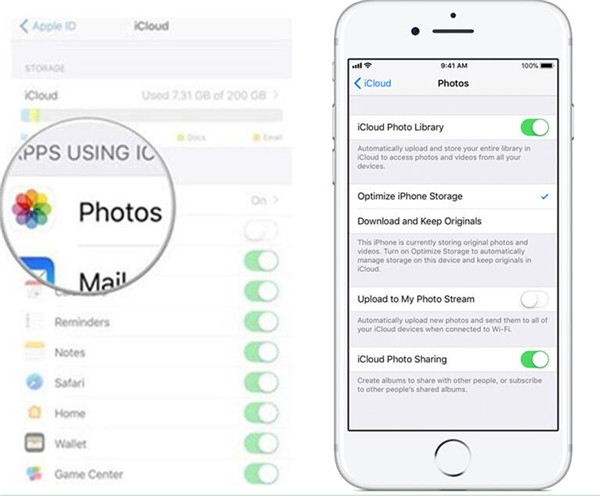 turn on the function to sync iPhone videos and pictures to iCloud