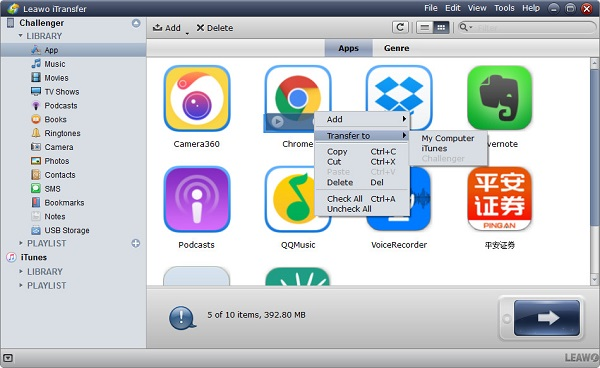 Select apps to transfer