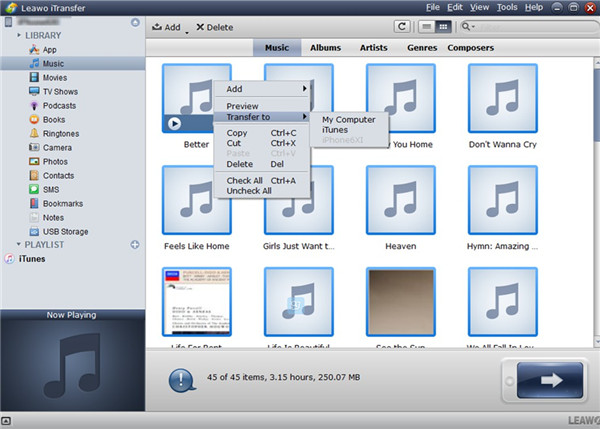 Select Music and Click on Transfer