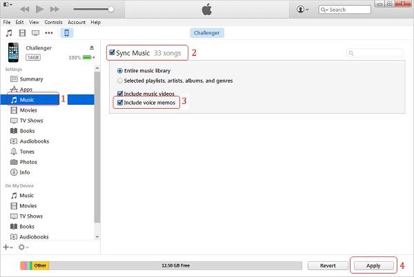 Transfer iPhone Voice Memos to Computer via iTunes