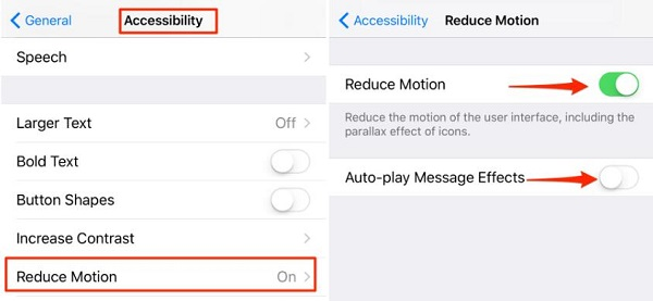 Turn on Reduce Motion and Auto-play Message Effects
