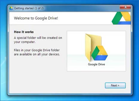 Google Drive app on Windows 10