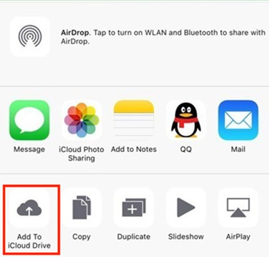 Click on Add To iCloud Drive