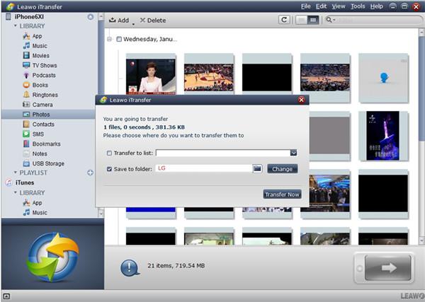 Select Photos to Transfer to LG Folder