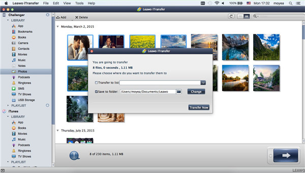 Select Output Folder to Transfer from iPad to Mac