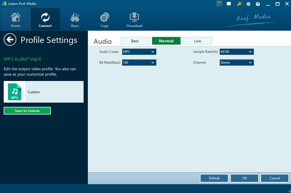 Edit audio parameters