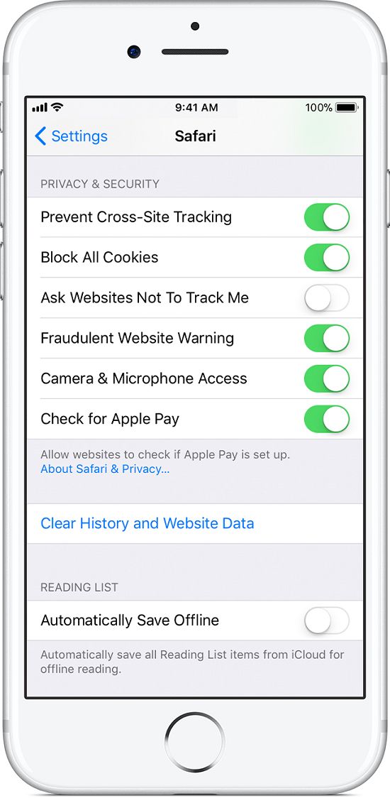 clear history on Safari via Settings