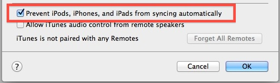 Prevent iPods, iPhones and iPads from syncing automatically