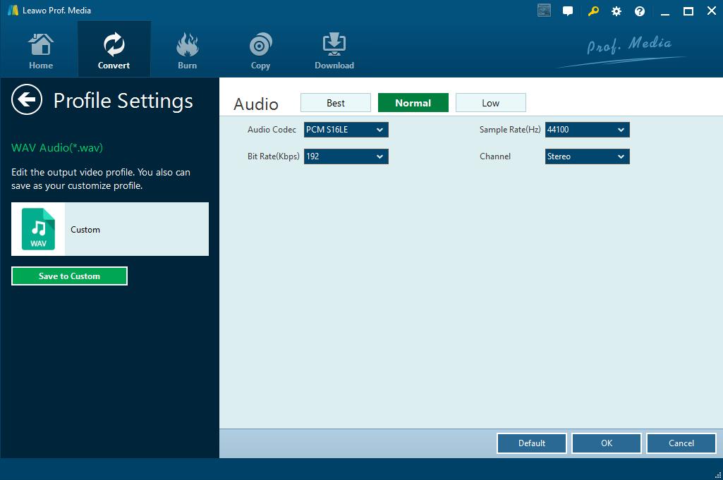 Edit the audio parameters