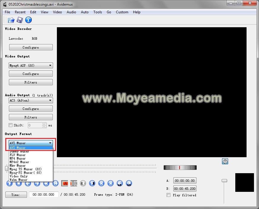 Avidemux MP4 to AVI