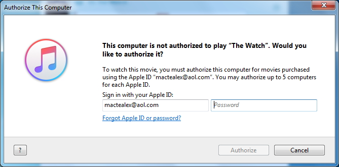 authorize iTunes account