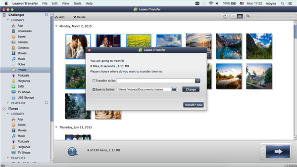 Choose Photos and Transfer to Mac