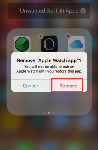 tap on the option of Remove