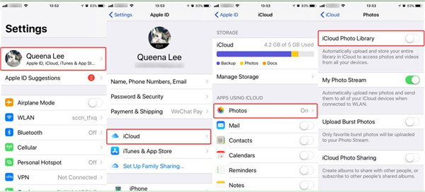turn on the feature of iCloud Photo Library