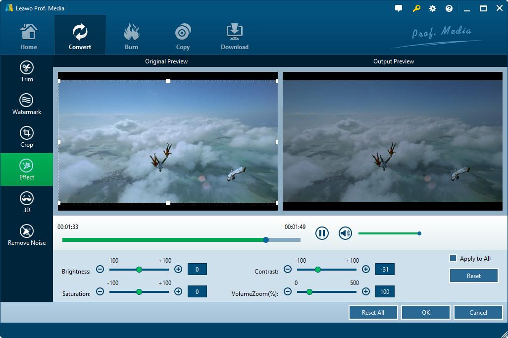Adjust WebM video effec